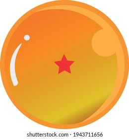 Dragon Ball series, vector of Dragon Ball One Star with gold color Good for icon from Dragon Ball's fans in the world