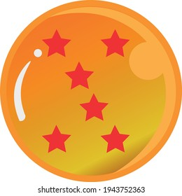 Dragon Ball series, vector of Dragon Ball Six Star with gold color Good for icon from Dragon Ball's fans in the world