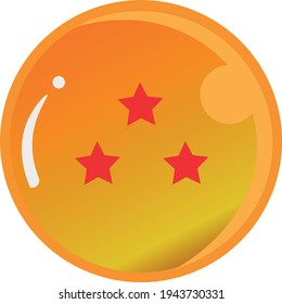 Dragon Ball series, vector of Dragon Ball Three Star with gold color Good for icon from Dragon Ball's fans in the world