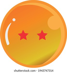 Dragon Ball series, vector of Dragon Ball Two Star with gold color Good for icon from Dragon Ball's fans in the world