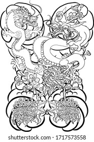 Dragon battle on background with Japanese flower.Chinese dragon for tattoo.