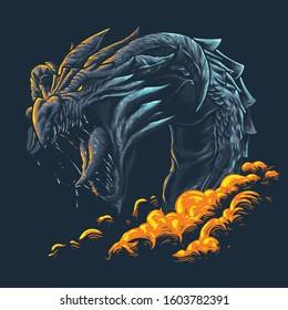 Dragon Beast Head Mythology Illustration