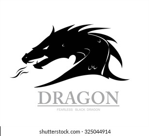 dragon, black dragon. dragon head. dragon head silhouette with the flame from the mouth. vector & illustration. Shooter Dragon. Dragon with Fire. Attacking Dragon. fearless black dragon.