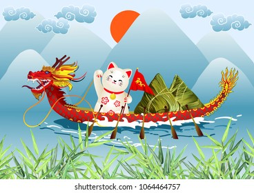 Dragon Boat Festival (Duanwu or Zhongxiao). Cartoon river landscape with chinese dragon boat, japanese lucky cat (maneki neko), rice dumplings (zongzi) and bamboo leaves. Vector illustration.