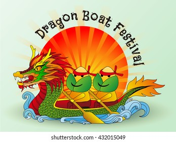Dragon boat festival dumplings. Boat dragon and sun backdrop and text in festival of china