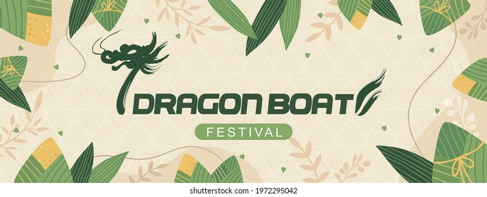 Dragon boat festival poster and banner template with zongzi (sticky rice dumplings) on light yellow background. Vector illustration for banner, poster, flyer, sale, invitation, discount.