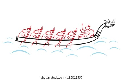 Dragon Boat Race team vector illustration