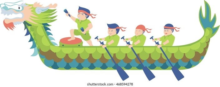 Dragon boat racing cartoon vector