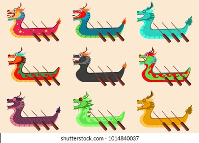 Dragon boat racing set for the Chinese festival. Vector cartoon icons isolated on background.
