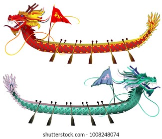 Dragon boats. Two vector illustrations isolated on white background, elements for Dragon Boat Festival (Duanwu or Zhongxiao) design.