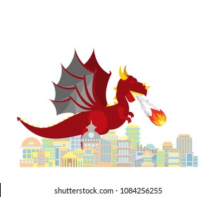 Dragon burns city. Red large mythical monster destroys town.