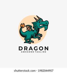Dragon cartoon illustration logo design vector flat color