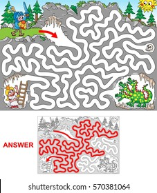 Dragon cave. Help knight to rescue princess jailed in a cave. Be aware of dragon! Labyrinth for kids. Landscape, easy.