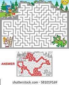 Dragon cave. Help knight to rescue princess jailed in a cave. Be aware of dragon! Labyrinth for kids. Landscape, hard.