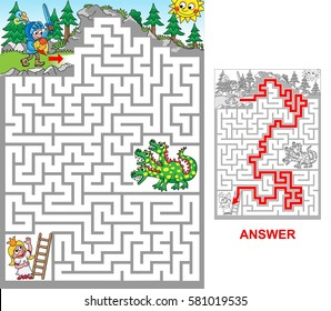 Dragon cave. Help knight to rescue princess jailed in a cave. Be aware of dragon! Labyrinth for kids. Portrait, hard.