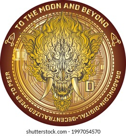 Dragon coine and cryptocurrency with money design. Hand drawn face and head of dragon