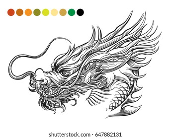 Dragon Coloring Page Template With Swatches Of Colors Vector Illustration