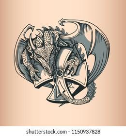 Dragon with Cross. Hand Drawing image.