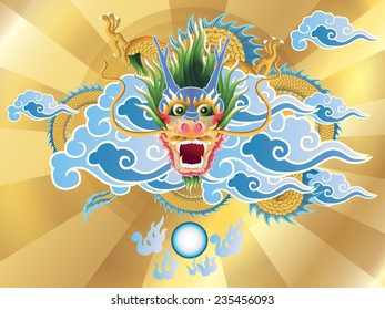 dragon and crystal ball on golden background