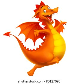 dragon cute smiling happy as cartoon or toy isolated on white vector