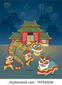 dragon dance and chinese new year illustration vector