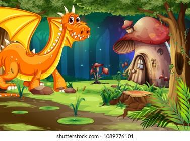 Dragon in Dark Forest and Mushroom House illustration