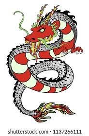 Dragon, decorative hand drawing, print, tattoo sketch, sticker. Colorful drawn snake with patterns and many detailed isolated on white background. Vector illustration