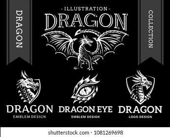 Dragon emblem, illustration, logotype, print design collection on a black background.