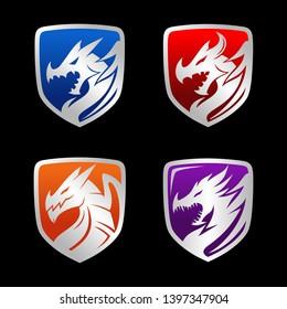 Dragon emblem shield set logo design