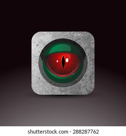 Dragon eye - original realistic vector illustration. Red eye looking through rock. Vector icon. Element of UI design. For web and apps