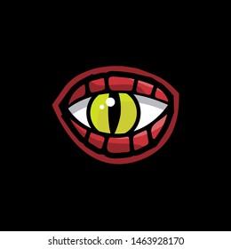 dragon eyes vector logo icon. dragon gaming mascot.
