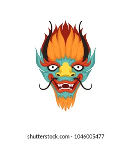 Dragon face, symbol of Chinese Boat Festival vector Illustration on a white background