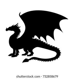 Dragon fantastic silhouette symbol mythology fantasy.  Vector illustration.