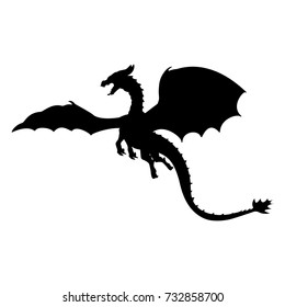 dragon fantastic silhouette symbol mythology fantasy vector illustration - Dragon Outline