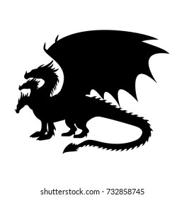 Dragon fantastic silhouette symbol mythology fantasy.  Vector illustration.