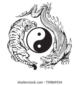 dragon fighting with tiger around yin yang symbol tattoo illustration