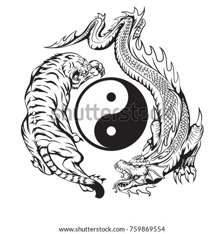 Dragon Fighting Tiger Around Yin Yang Stock Vektorgrafik Lizenzfrei
