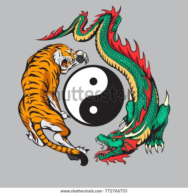 c7299bd12 dragon fighting with tiger around yin yang symbol tattoo illustration