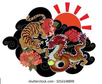 Dragon fighting with tiger tattoo.Dragon and tiger on cloud and red rising sun.