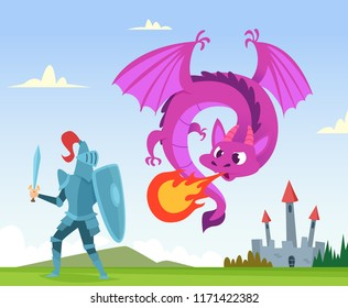 Dragon fighting. Wild fairytale fantasy creatures amphibian with wings castle attack with big flame vector background illustration. Knight and dragon, medieval monster and castle