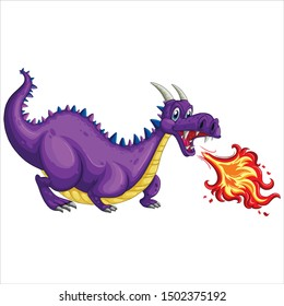 Dragon with fire cartoon vector art and illustration