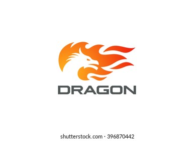 Dragon Fire Flame Logo design vector template Negative space style. Monster Strength reptile silhouette Logotype concept icon.