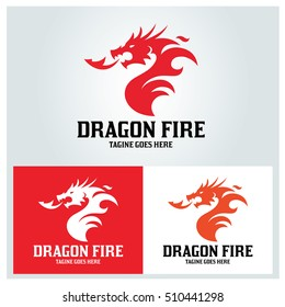 Dragon Fire logo design template ,Vector illustration
