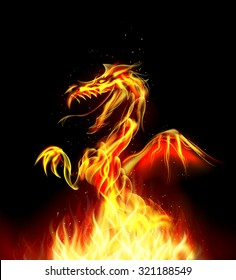 Dragon fire on background. vector