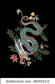 dragon flowers tattoo patch embroidery illustration