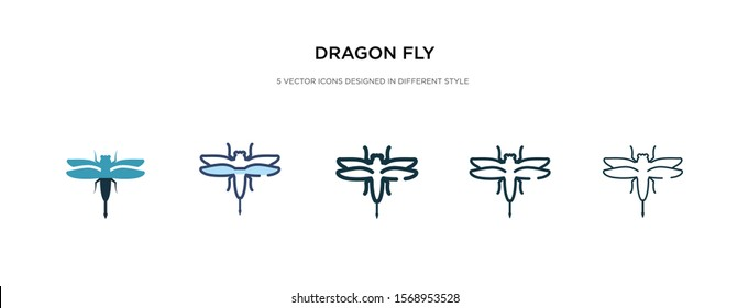 dragon fly icon in different style vector illustration. two colored and black dragon fly vector icons designed in filled, outline, line and stroke style can be used for web, mobile, ui
