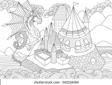 A Dragon flying above beautiful castle on island for adult coloring book page