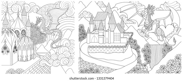 Dragon flying above the castle collection for adult coloring book, coloring page and other design element. Vector illustrations
