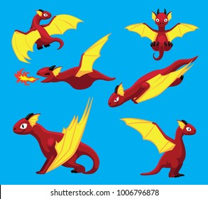 Dragon Flying Poses Cute Cartoon Vector Illustration
