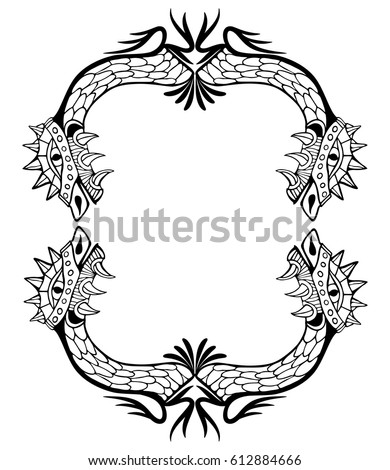 Dragon Frame Coloring Book Tattoo Vector Stock Vector (Royalty Free ...
